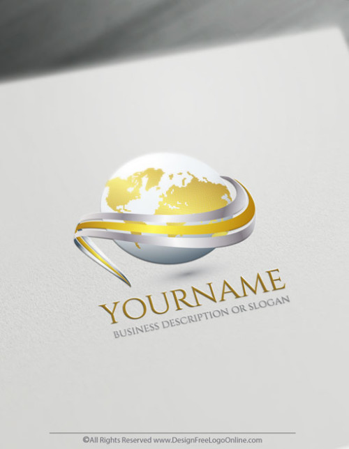 Create a 3D Logo For Free - Gold Globe Logo Templates
