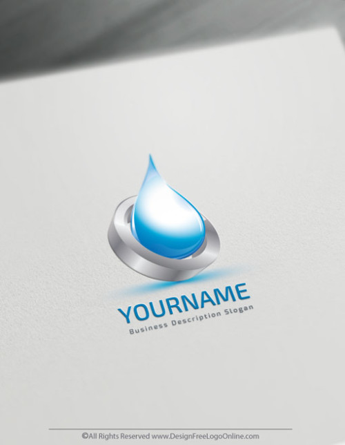 3D Blue Water Drop Logo Template