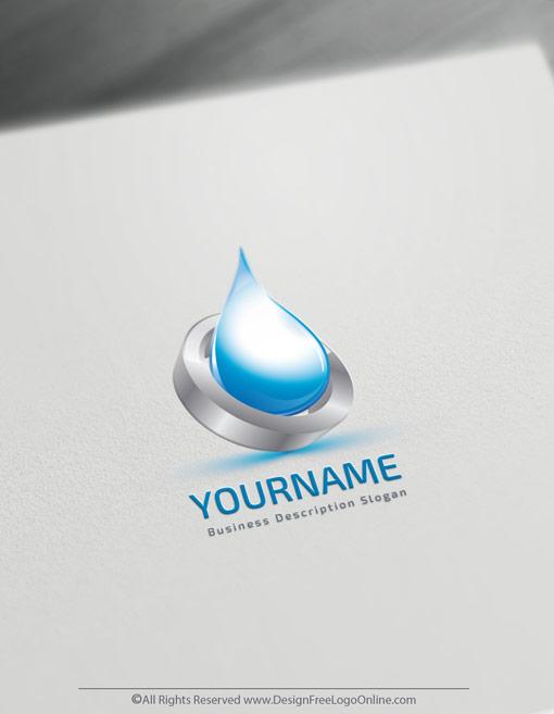3D Blue Water Drop Logo Template