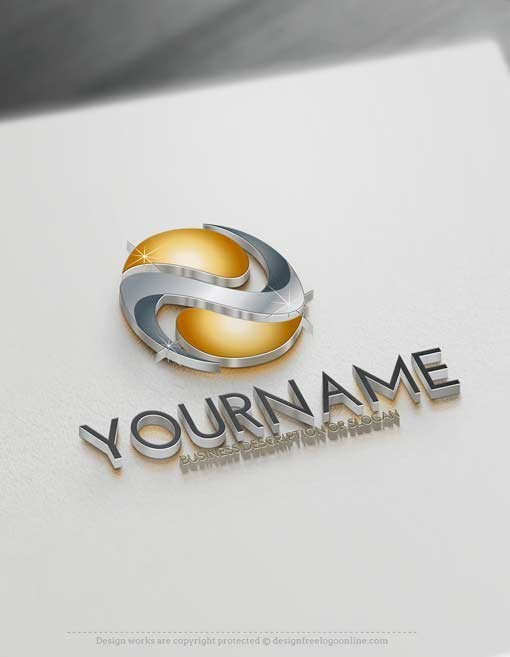 Design Free 3D Abstract Logo Template. Ready made Online Abstract logo template for sale Decorated with an image of a 3D yin yang