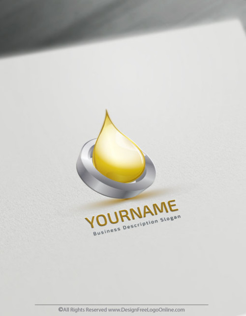3D Gold Drop Logo Template - Design Free 3D Oil Logos CBD OILS
