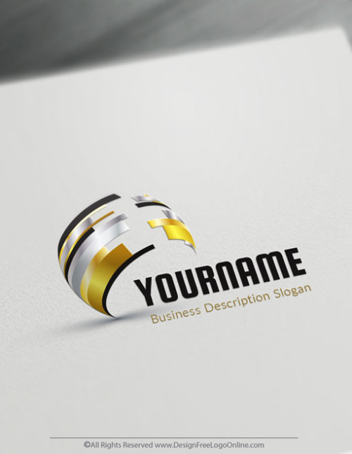 Golden Abstract 3D Logo Maker