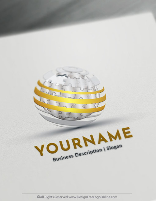 Design Your Own Gold 3D Puzzle Globe Logo