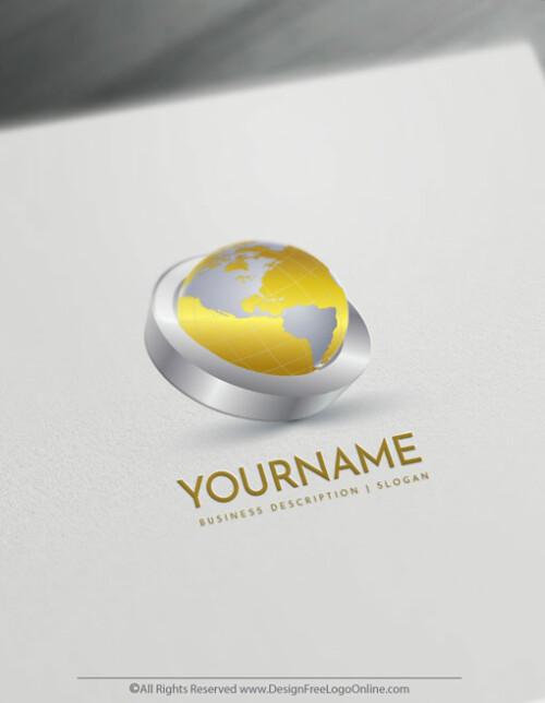 Design Free 3D Logo Online - 3D GOLD Globe Logo Templates