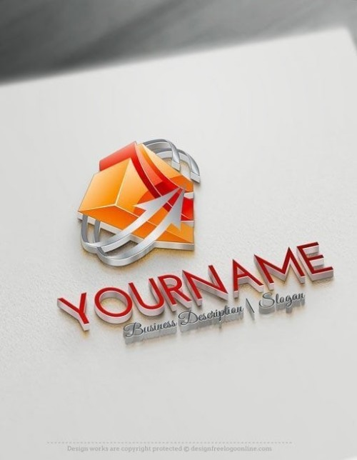 Design Free Online 3D Cube arrow logo Template