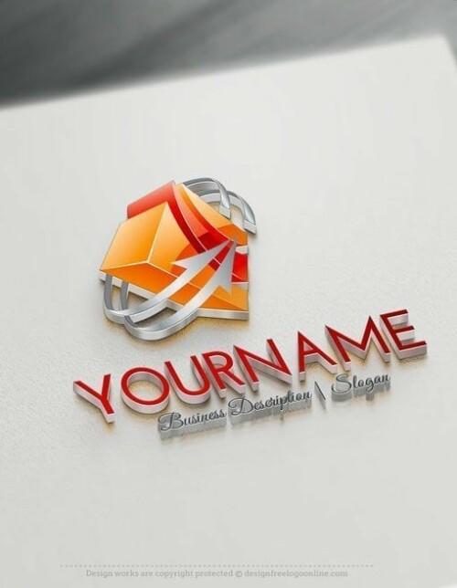 Design Free Online 3D Cube arrow logo Template