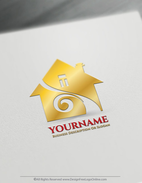Design a gold House logo template using free Real Estate logo maker
