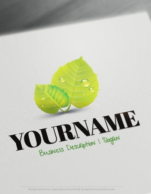Ready-made-Online-natural-logo-template-Decorated-with-an-image-of-Green-leaf-and-water-drops