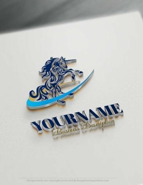Design Free Logo: Unicorn online Logo Template