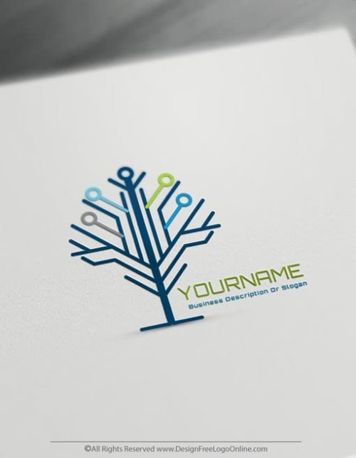 Create Technology Logos For Free – Network Tree Logo Design