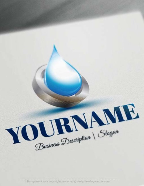 Ready made Online natural Water Drop Online Logo Template.