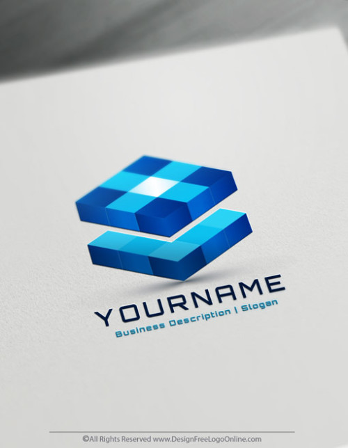 Create Your Own Blue 3D Cubes Logo Design Ideas