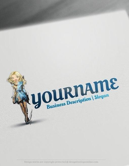 Design-Free-Logo-Beautiful-fashion-girl-Online-Logo