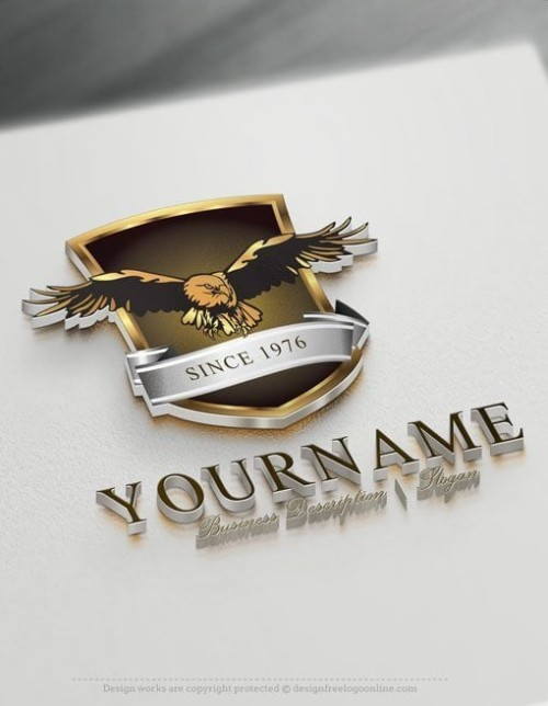 Customize this Eagle Shield Logo Template brand yourself with our free logo designer. Create your own Eagle logos without graphic designer skills.