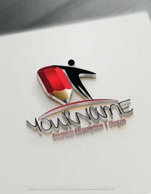 Design Free Logo: Education Human Logo Template