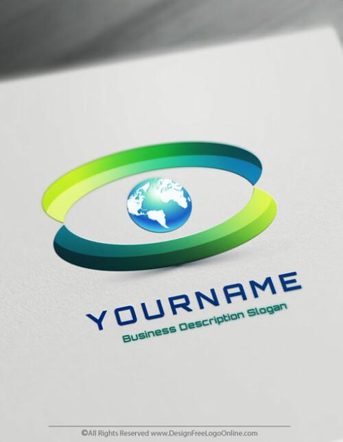 Free 3D Logo Maker - 3D Eye Globe Logo Design template