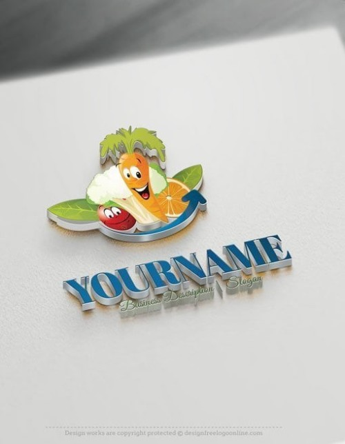 Create Your Own Logos with Fruits Vegetables Logo Template.