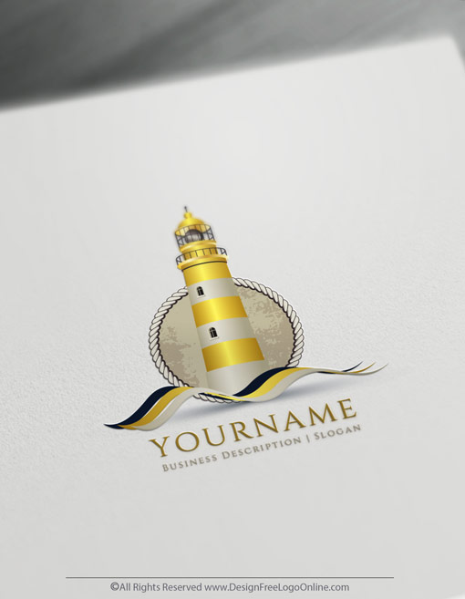 Gold Lighthouse Logo ideas online logo maker