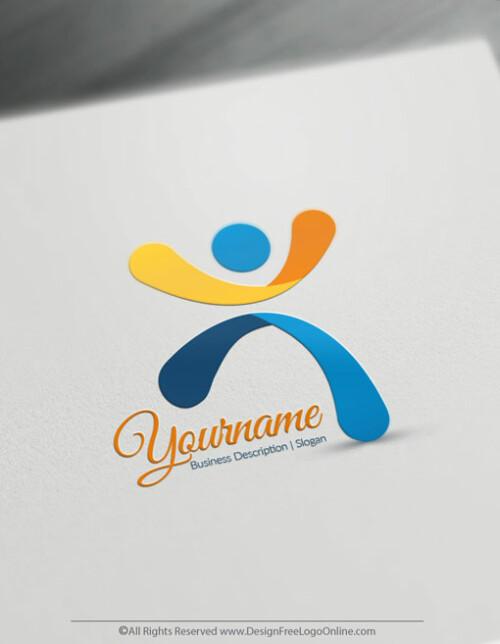Man Jumps Logo Design Template - Free Logo Maker