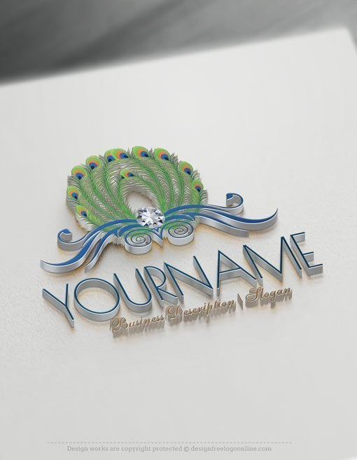 Peacock-feathers-Online-Logo-Template