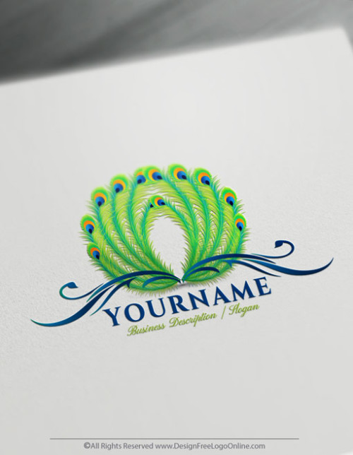 Design Free Logo Online made Peacock logo designing simple