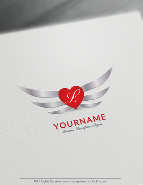 design a sexy silver Wings and Heart Logo with the Free Logo Maker.