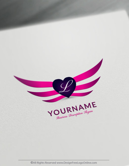 design a sexy pink Wings and Heart Logo with the Free Logo Maker.