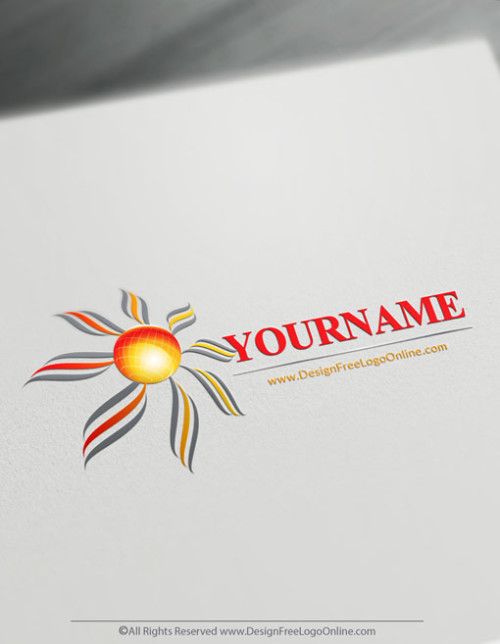 Sun Globe Logo creation made with solar logo maker software