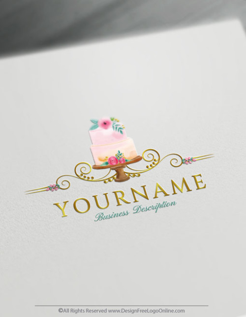 Vintage Wedding Cake Logo Template Design