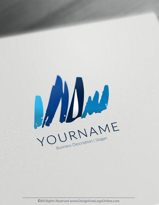 blue Art Sketch Online Logo Template