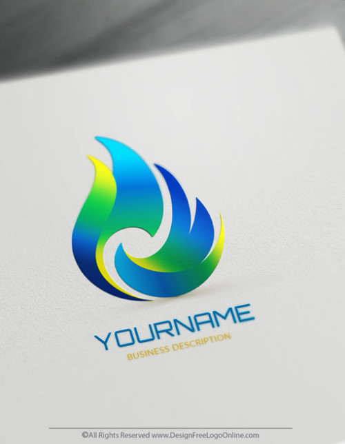 Free Fire Logo Maker - blue Flames Logo Design Template