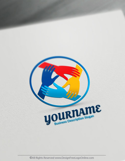Make your own colorful Hands logotype free! Download your new Logo Today