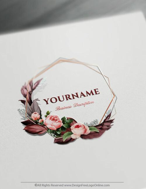 create your own floral frame Logo Design Online using the vintage logo maker