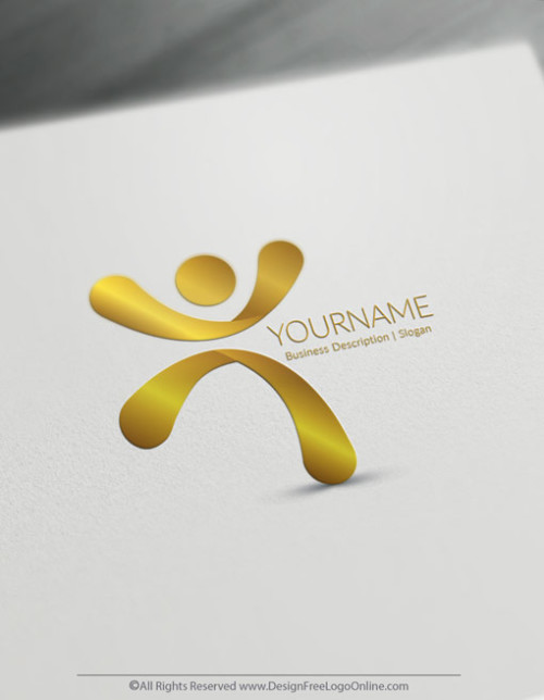 Gold Man Jumps Logo Design Template - Free Logo Maker