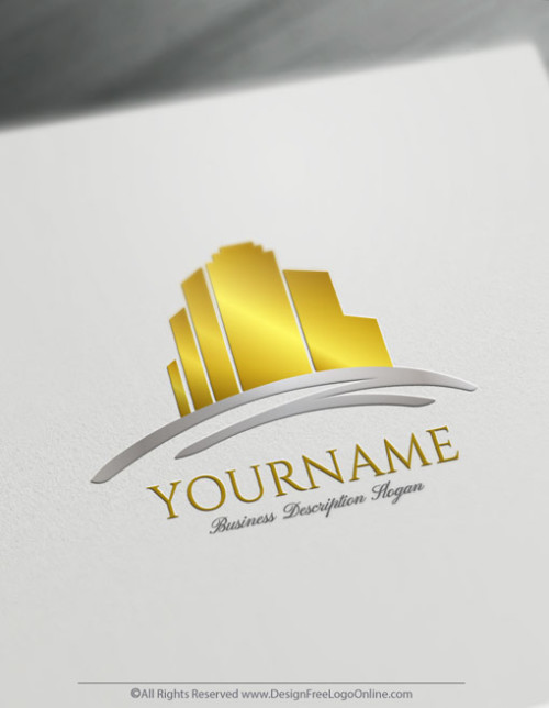 Create Your Own Online Real Estate Gold Buildings Logo Design Ideas