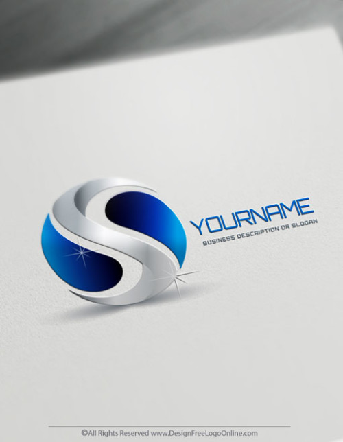 Blue Yin Yang Logo Making made simple with Free 3D Logo Creator.