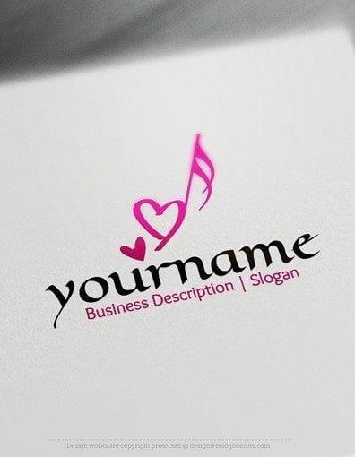 Design Free Logo: Heart Music Note Logo template | 396 x 510 jpeg 18kB