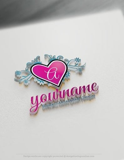 Design Free Logo: Decorative Heart Crest Logo Template