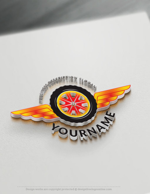 Fire red Car tyre Logos