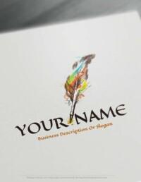 Free Logo Generator: Online quill pen Logo Template