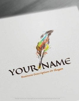 Design-Free-Education-Online-quill-pen-Logo-Template
