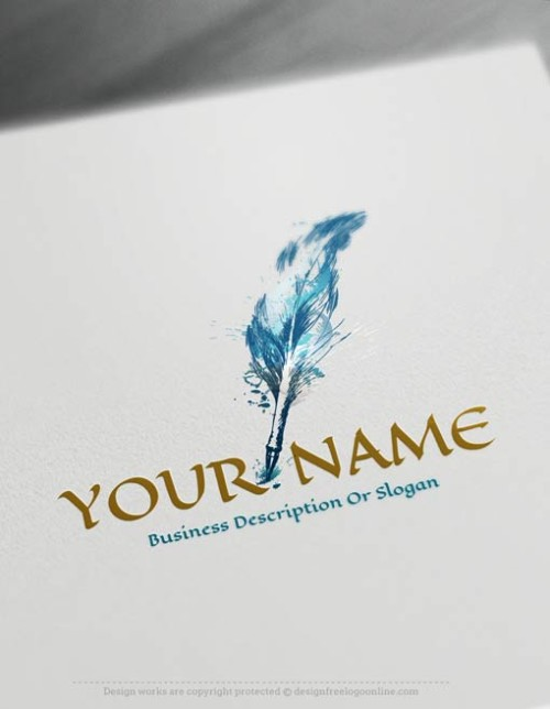 Online Blue Feather Quill Pen Logo Design