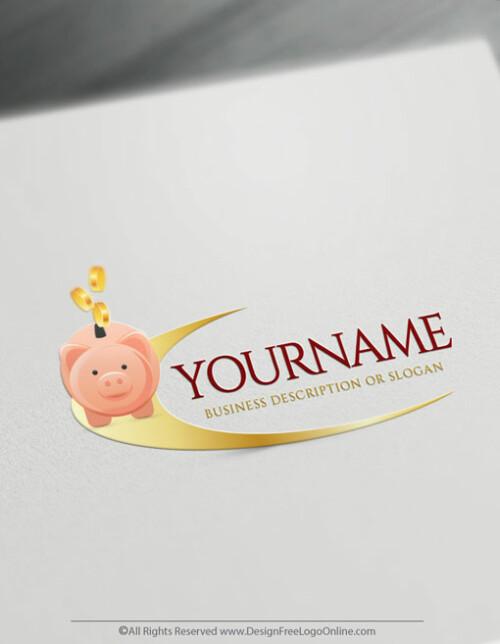 Create Your Own Gold Piggy Bank Logo Design Ideas