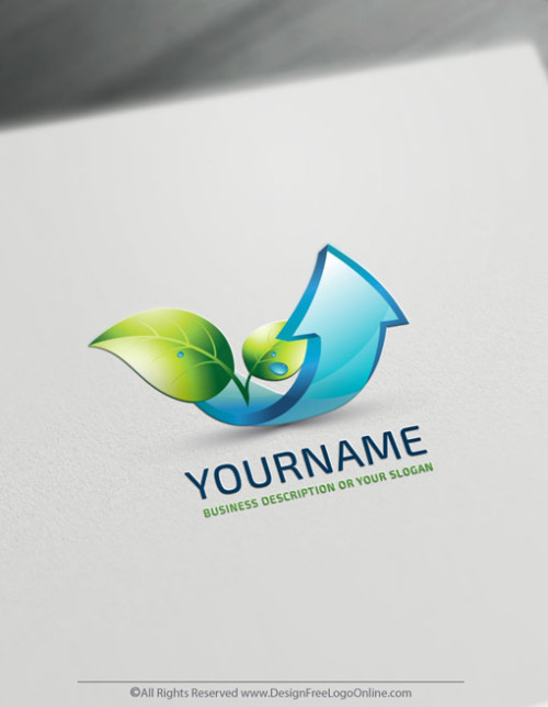 Free 3D Arrow Logo Maker - Finance Growing Leaf Logo Template