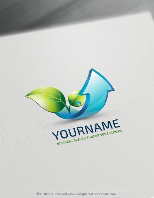 Free 3D Arrow Logo Maker - Finance Growing Leaf Logo Template