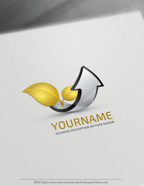 Free 3D Gold Arrow Logo Maker - Finance Growing Green Leaf Logo Template