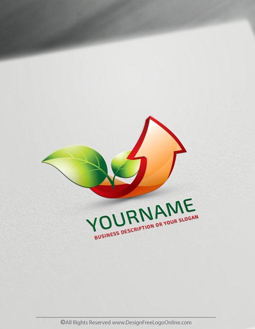 Free Finance Red Arrow Logo Maker. Growing Leaf Logo design Template