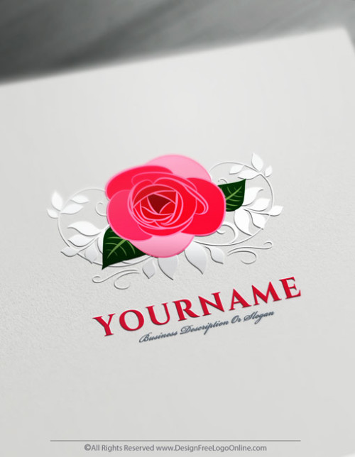 Design Free Logo Online made pink Rose logo making simple