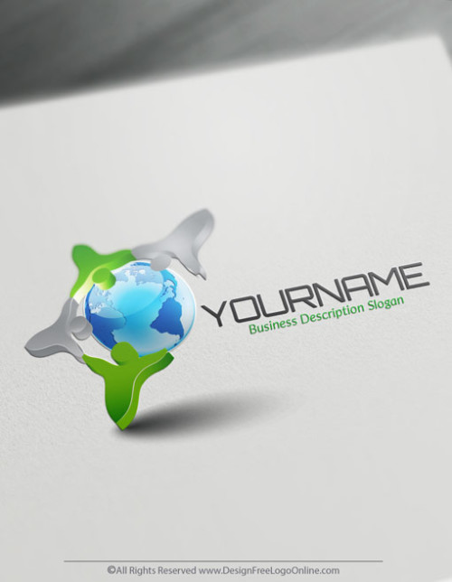 Get your new around the world Logo Design instantly! Use the Free 3D group Logo creator software to customize any globe logo free.
