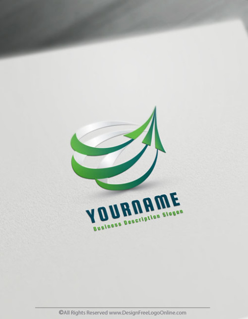 Online Green Arrow Logo Template